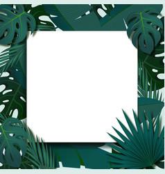 Tropical foliage frame template vector