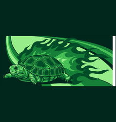 Turtle with flames on colored background vector