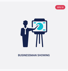 two color businessman showing a project sketch vector image