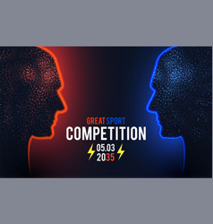 versus sport competition template with men s vector image