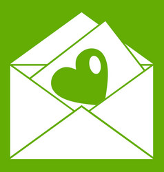 Vintage envelopes and heart icon green vector