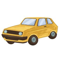 Vintage old car retro transport automobile 80s vector