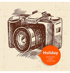 Vintage travel and holiday background with camera vector