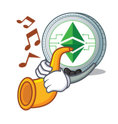 With trumpet ethereum classic character cartoon vector