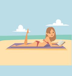 woman on beach outdoors summer lifestyle sunlight vector image
