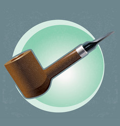 Wooden smoking pipe vector