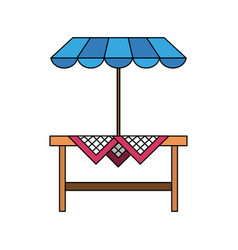 wooden table patio umbrella vector image