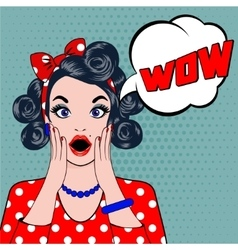 WOW bubble pop art surprised woman face vector image