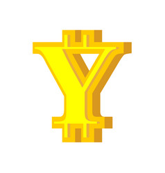 y letter bitcoin font cryptocurrency alphabet vector image