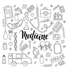 big set of hand drawn doodle medicine with vector image