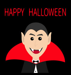 count dracula head face wearing red cape cute vector image