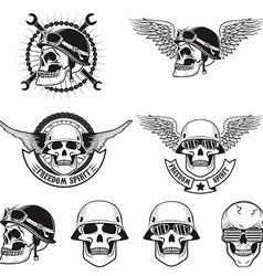 Freedom spirit Set of skulls in biker helmets vector image