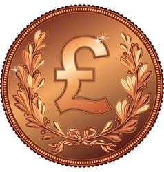 gold Money Pound coin vector image