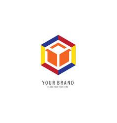 hexagon colourfull logo vector image vector image