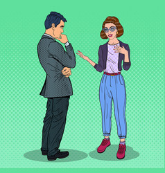 young woman talking with man pop art vector image vector image