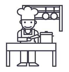 cookershefkitchen restaurant line icon vector image vector image