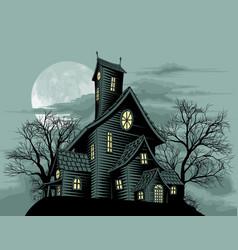 creepy haunted ghost house scene vector image vector image