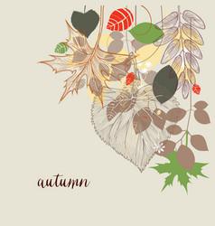 fall corner decoration autumn leaf design vector image vector image
