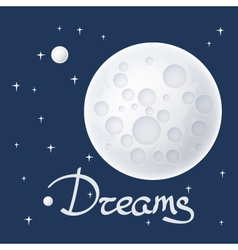 Moon with Stars and Text vector image