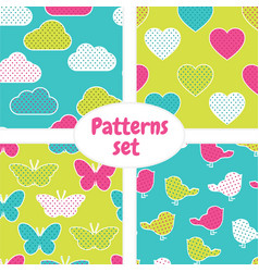 pattern set with colorful clouds hearts vector image vector image