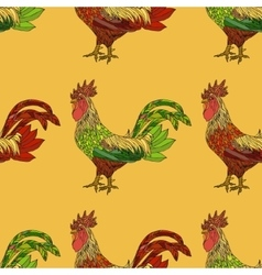 Seamless pattern with colorful cock vector image