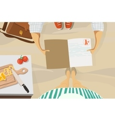 Back to school Son shows the evaluation mother vector image vector image