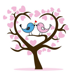 couple of birds in tree vector image vector image