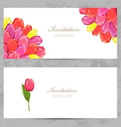 invitation cards with a tulips for your design vector image vector image