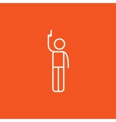 Man giving signal with starting gun line icon vector image