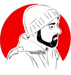 man with beard in hat on red background one line vector image