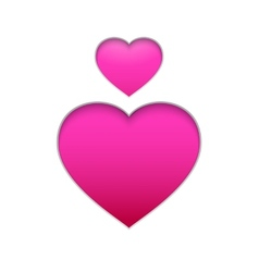 Pink hearts isolated on white background vector image vector image