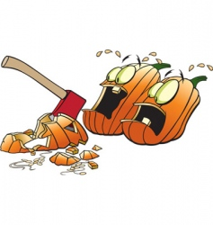 scared pumpkins vector image vector image