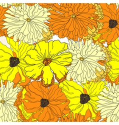 Seamless wallpaper with yellow flowers vector image