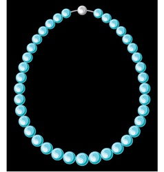 Turquoise pearl necklace vector image vector image