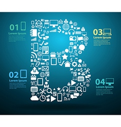 Application icons alphabet letters B vector image vector image