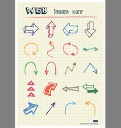 Arrows web icons set drawn by color pencils vector