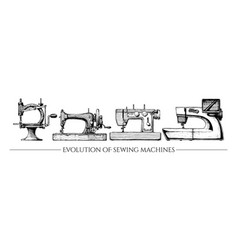 evolution of sewing machines vector image vector image