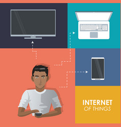internet things man with smartphone tv laptop vector image