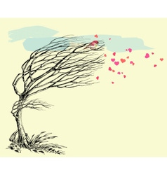 Love bird and tree without leaves in the wind vector image vector image