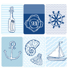 Marine seamless card collection of seashells vector