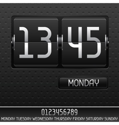 Mechanical flip clock with date vector image vector image