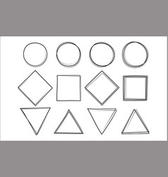 set of the hand drawn scribble circle square and vector image