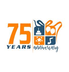75 years gift box ribbon annivers vector