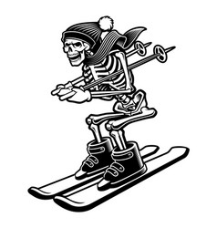 a skeleton on skis vector image