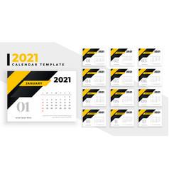 Abstract yellow 2021 new year calendar design vector