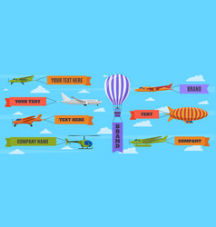 airplane with banners planes biplane hot air vector image