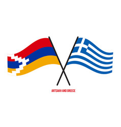 Artsakh and greece flags crossed and waving flat vector