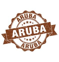 aruba round ribbon seal vector image