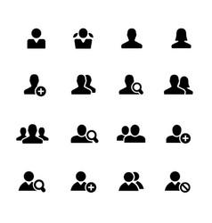 Avatar icons black series vector