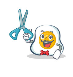 Barber fried egg character cartoon vector